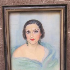 Arte: POSIBLE RETRATO DE LA ESCRITORA CECILIA M. MANTUA, 1930'S. FIRMA ILEGIBLE, TÉCNICA MIXTA. 75X61CM. Lote 119865611