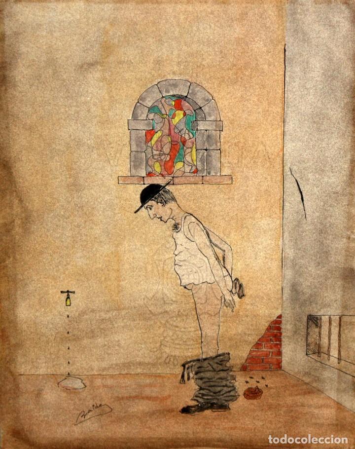 ILEGIBLE. TECNICA MIXTA SOBRE PAPEL. PERSONAJE (Arte - Dibujos - Contemporáneos siglo XX)
