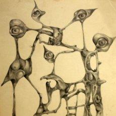 Arte: FIRMADO NIETO - AÑO 1984 - DIBUJO A CARBON - FIGURAS ONIRICAS.. Lote 119930975