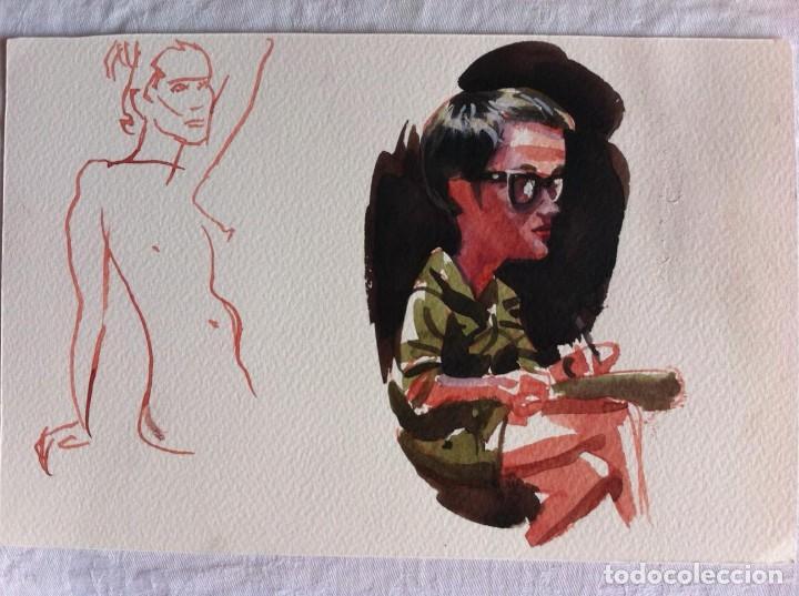 Arte: LOTE 9 DIBUJOS ORIGINALES RETRATOS CARICATURAS - Foto 7 - 120208075