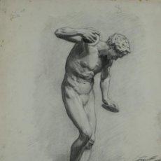 Arte: DIBUJO AL CARBONCILLO ESCULTURA DESNUDO MASCULINO FIRMADO CAPILLA FINALES SIGLO XIX. Lote 120231507
