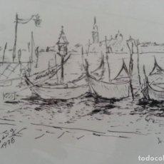 Arte: DIBUJO PLUMILLA GÓNDOLA VENECIA 1978. Lote 120337599