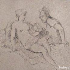 Arte: ANTIGUO DIBUJO ORIGINAL A CARBONCILLO, ESCENA MITOLÓGICA, CLASICISMO. Lote 120443007