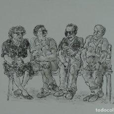Arte: TINTA Y ACUARELA SOBRE PAPEL ESCENA ANCIANOS EN BANCO FIRMADO DAVID 88. Lote 120564267