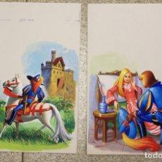Arte: LOTE DE 4 DIBUJOS ORIGINALES EN GOUACHE REALIZADOS PARA ILUSTRAR LA BELLA DURMIENTE. Lote 120606512