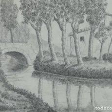 Arte: DIBUJO A LÁPIZ PAISAJE LAGO CON CASA Y PUENTE MEDIADOS SIGLO XX. Lote 120808343