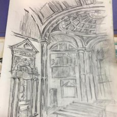 Arte: PINTURA A LAPIZ ALTAR DE IGLESIA - MEDIDA 42X30 CM. Lote 120839455