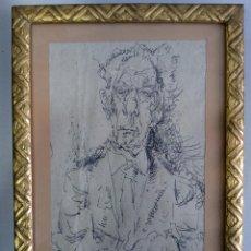 Arte: ÁLVARO DELGADO, RETRATO DE BENJAMÍN PALENCIA, TINTA CHINA SOBRE PAPEL AÑOS 70. Lote 121053128