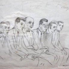 Arte: RICARDO OPISSO I SALA (TARRAGONA, 1880 - BCN, 1966) DIBUJO A LAPIZ GRASO. UN JUICIO. Lote 121240199