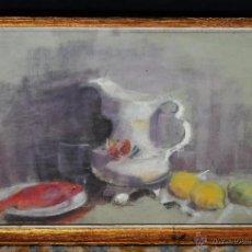 Arte: ESCUELA CATALANA DE LOS AÑOS 60. DIBUJO A PASTEL DE AUTOR ANÓNIMO. BODEGÓN. Lote 54779753