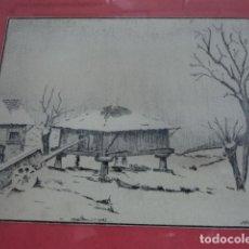 Arte: PRECIOSO DIBUJO A PLUMILLA OBRA ASTURIANA ENMARCADA ORIGINAL ILEGIBLE HORREO ASTURIANO. Lote 121473739