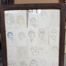 Arte: LOTE DE DIBUJOS, RETRATOS, ENMARCADOS, 20 EN TOTAL, 42X49CM. Lote 122276552