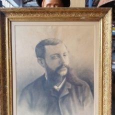 Arte: S.XIX, EXCELENTE RETRATO A CARBONCILLO. 1893, FERNANDO DE WILLIAMS? , 70 X 64CM,CON IMPORTANTE MARCO. Lote 122284906