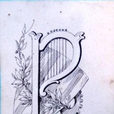 Arte: DIBUJO ORIGINAL A TINTA,SIGLO XIX,MANUEL MOLINÈ MUNS,EDITADO EN BARCELONA.TEMA MUSICA,ARPA Y ESCUDO.. Lote 122737379