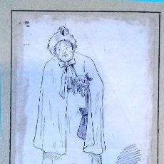 Arte: DIBUJO ORIGINAL A TINTA,SIGLO XIX,AÑO 1895,DAMA PASEANDO AL PERRO,EDITADO EN BARCELONA,FIRMADO FLO.. Lote 122739411