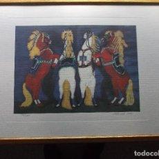 Arte: DIBUJO DE CUATRO CABALLOS - MUHADIN ISMAILOVICH KISHEV - 2002. Lote 122763519
