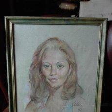 Arte: BUSTO QUIZAS MAR SEGURA,HECHO A PASTEL FIRMADO GALAN.. Lote 122872927