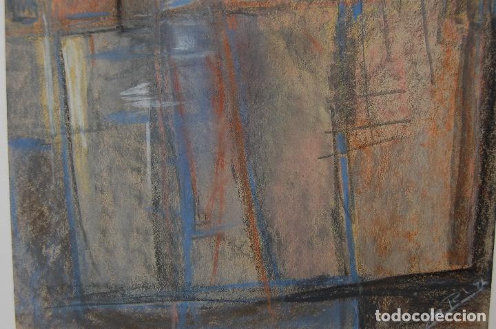 Arte: Firma sin identificar.Interesante dibujo sobre papel de 31x44 Técnica mixta cera y pastel. Perfecto. - Foto 4 - 122903671