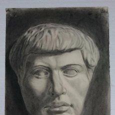 Arte: DIBUJO DE BUSTO DE ESCULTURA CLÁSICA .PINTADO AL CARBONCILLO.. Lote 122965495