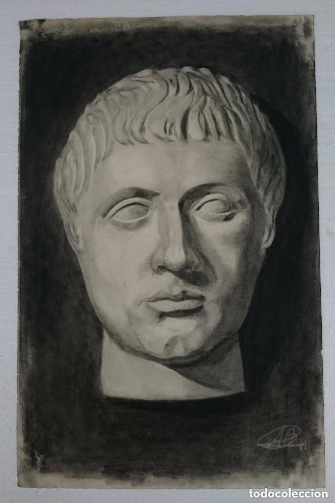 DIBUJO DE ROSTRO DE EMPERADOR ROMANO.PINTADO AL CARBONCILLO. DIBUJO (Arte - Dibujos - Contemporáneos siglo XX)