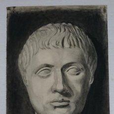 Arte: DIBUJO DE ROSTRO DE EMPERADOR ROMANO.PINTADO AL CARBONCILLO. DIBUJO. Lote 122965827