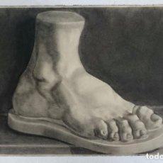 Arte: DIBUJO DE UN PIE DE UNA ESCULTURA CLÁSICA .PINTADO AL CARBONCILLO. DI. Lote 122967007