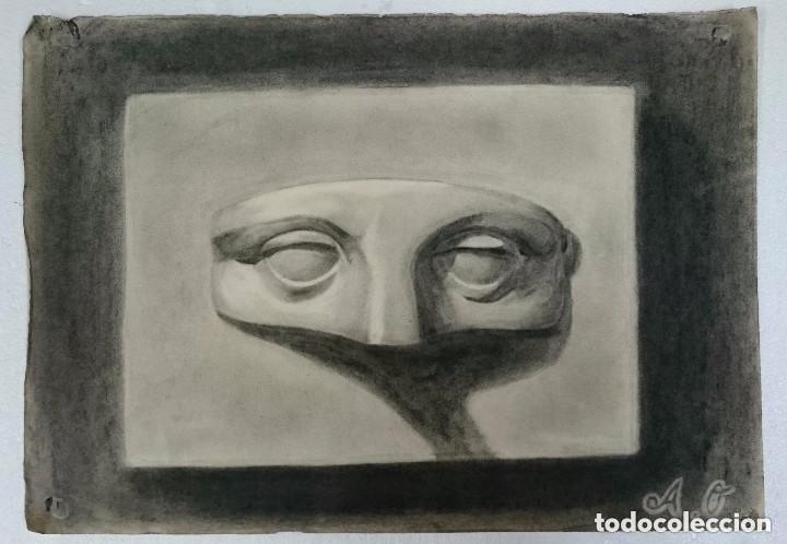 DIBUJO DE ROSTRO HUMANO .PINTADO AL CARBONCILLO. (Arte - Dibujos - Contemporáneos siglo XX)