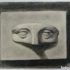 Arte: DIBUJO DE ROSTRO HUMANO DEL AUTOR ALBERTO DUCE VAQUERO.PINTADO AL CARBONCILLO.. Lote 122967647