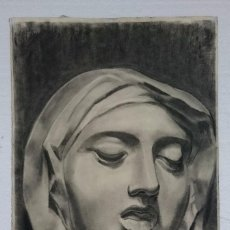 Arte: DIBUJO DE ROSTRO FEMENINO .PINTADO AL CARBONCILLO. DIBUJO SOBRE PAPEL. Lote 210111013