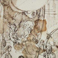 Arte: ESCUELA ITALIANA DEL SIGLO XVIII. DIBUJO A TINTA DE AUTOR ANONIMO. Lote 123017047