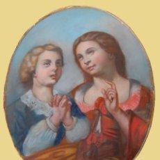 Arte: ANÓNIMO. ESCENA GALANTE. ESCUELA ITALIANA S. XIX, PASTEL, 77 CM X 61 CM. Lote 123065167