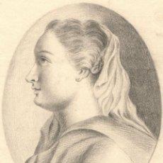 Arte: DIBUJO DE MUJER JOVEN - SIGLO XVIII - FIRMADO - LEGRAND FECIT 1757. Lote 123077187
