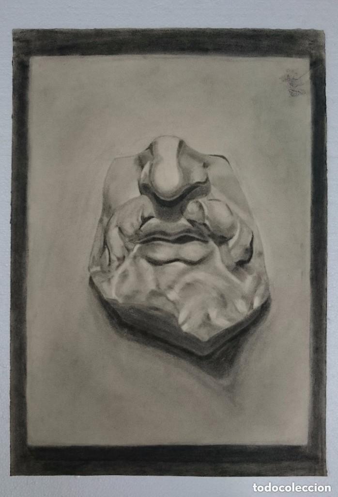 DIBUJO DE ROSTRO MASCULINO, ESCULTURA CLÁSICA. .PINTADO AL CARBONCILLO. (Arte - Dibujos - Contemporáneos siglo XX)