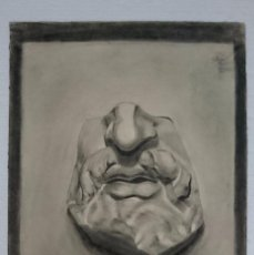 Arte: DIBUJO DE ROSTRO MASCULINO, ESCULTURA CLÁSICA. .PINTADO AL CARBONCILLO.. Lote 123287591
