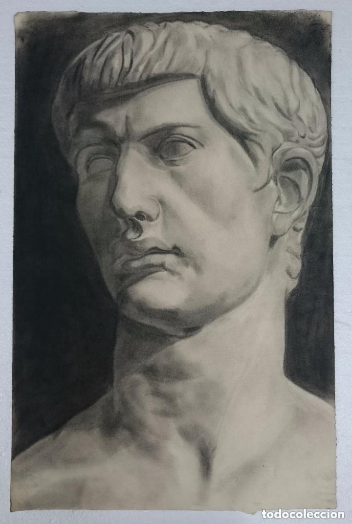 DIBUJO BUSTO MASCULINO, ESCULTURA CLÁSICA .PINTADO AL CARBONCILLO (Arte - Dibujos - Contemporáneos siglo XX)