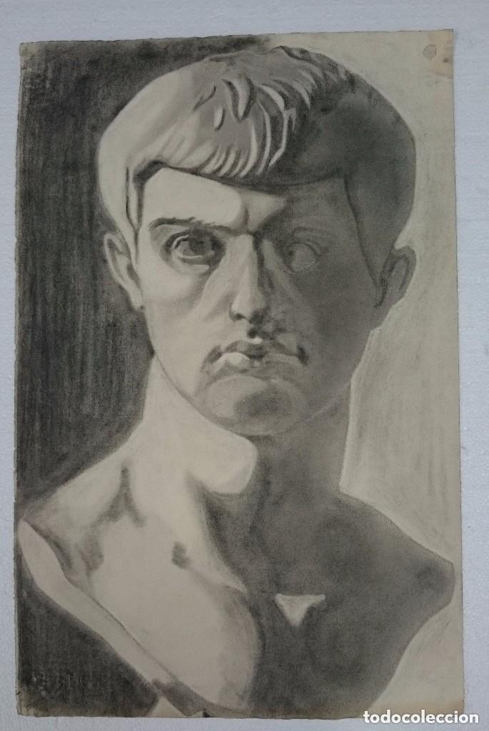 DIBUJO DE BUSTO MASCULINO, ANTIGUA ROMA, .PINTADO AL CARBONCILLO. (Arte - Dibujos - Contemporáneos siglo XX)
