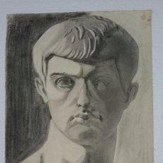 Arte: DIBUJO DE BUSTO MASCULINO, ANTIGUA ROMA, .PINTADO AL CARBONCILLO.. Lote 123288599