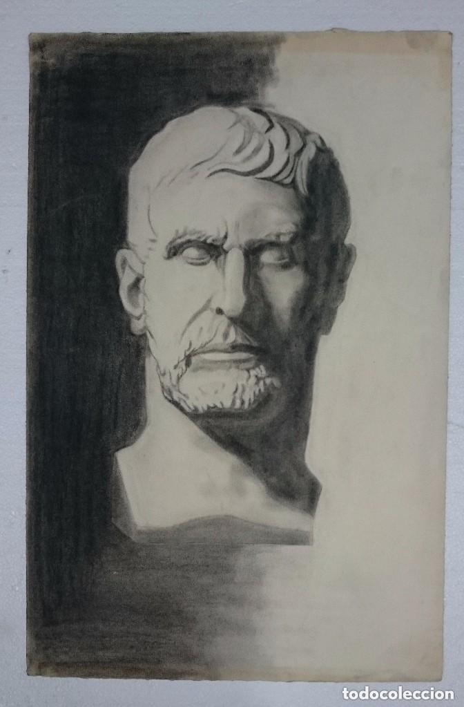 DIBUJO DE BUSTO DE ESCULTURA CLÁSICA ROMANA .PINTADO AL CARBONCILLO. (Arte - Dibujos - Contemporáneos siglo XX)