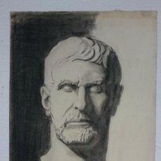Arte: DIBUJO DE BUSTO DE ESCULTURA CLÁSICA ROMANA .PINTADO AL CARBONCILLO.. Lote 123289507