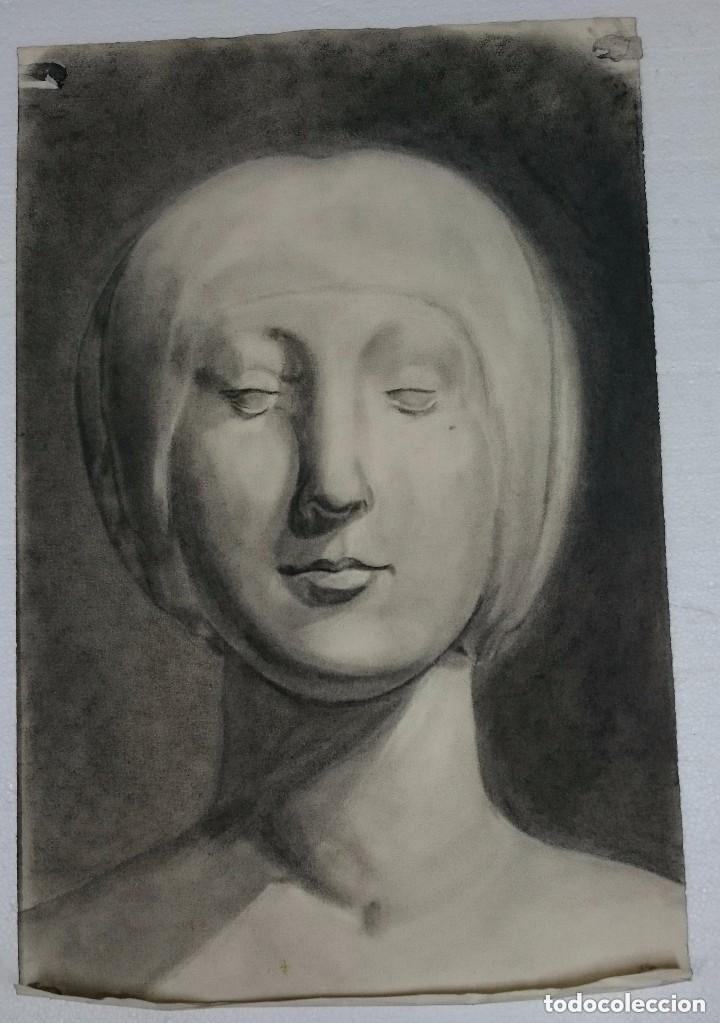 DIBUJO DE RETRATO FEMENINO CLÁSICO .PINTADO AL CARBONCILLO. (Arte - Dibujos - Contemporáneos siglo XX)