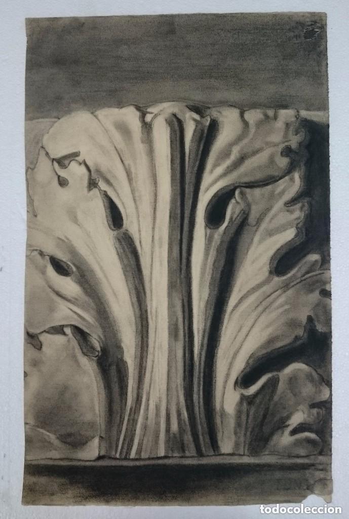 DIBUJO DE RETABLO, MOTIVO ARQUITECTÓNICO.PINTADO AL CARBONCILLO. (Arte - Dibujos - Contemporáneos siglo XX)