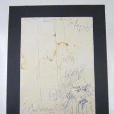 Arte: JULIO VIERA (1934), RETRATO HOMBRE, ESBOZO CON DEDICATORIA, LAS PALMAS DE GRAN CANARIA. 38,5X28,5CM. Lote 123319587
