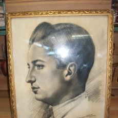 Arte: DIBUJO A CARBON DE UN HOMBRE-FIRMADO POR SESMERO-ALMERIA-1957. Lote 123542723