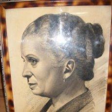 Arte: DIBUJO A CARBON DE UNA MUJER-FIRMADO POR SESMERO-ALMERIA-1957. Lote 123542983