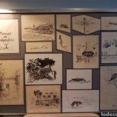 Arte: JOSÉ ESTELLÉS HERRERO (VALENCIA 1926-2005) 14 PLUMILLAS ORIGINALES Y UNA ACUARELAS PARA UN LIBRO.. Lote 131133240