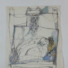 Arte: MUJER. TÉCNICA MIXTA SOBRE PAPEL. ALBERT GONZALO CARBÓ. 1998.. Lote 124606527