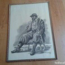Arte: ENRIQUE GUZMÁN - GAUCHO ARGENTINO TOMANDO MATE - CARBONILLA - CARBONCILLO - AÑO 1985 - 50 X 37 CM. Lote 125144159