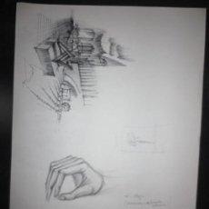 Arte: PROYECTO DIBUJO ARQUITECTURA ORIGINAL EDIFICIO VALENCIA Y APUNTES FIRMADO LEIVA. Lote 110763647