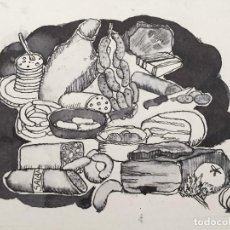 Arte: DIBUJO ORIGINAL DE ARJÉ. EMBUTIDOS Y FIAMBRES. Lote 125315047