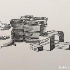 Arte: DIBUJO DE BOADA PARA LIBRO DE COCINA.1971. Lote 125424379